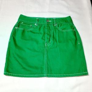 Forever 21 Green Denim Mini Skirt Sz Small